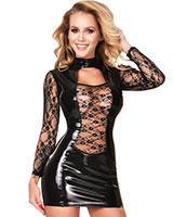 Long Sleeved Datex Mini Dress with Lace