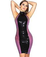 Black Ice Latex-Minikleid in schwarz und lila-semitransparent