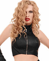 Red Leather Bustier with Zipper
