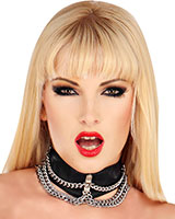 Leather Collar with Chains