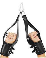 Leather Hanging Arm Restraints with Aluminium Handle
