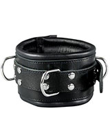 Leather Bondage Collar with D-Rings - Width 8 cm - Optional Lock
