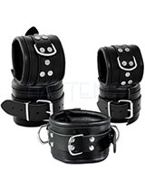 Leather Restraints Set with D-Rings - Width 8 cm