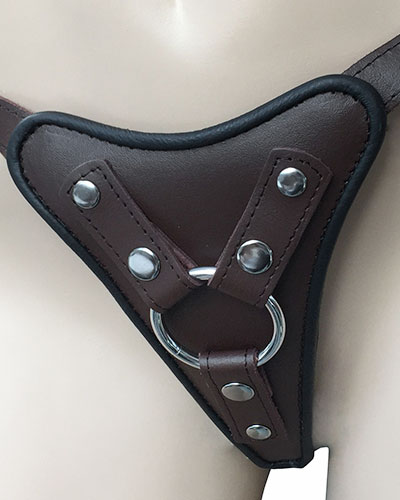 Brown Leather Strap-On with Changeable Metal O-Ring