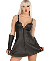 Front Zipped Leather Dress