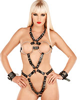 Leather Harness with Metall Breast Rings