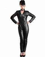 Black Leather Racer Catsuit - Size XL