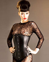Fully Boned Black Leather Corset