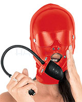 Leather and Stretch Hood with Inflatable Gag for Ladies