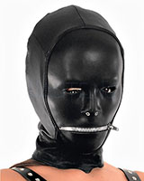 Leather and Stretch Hood with Mouth Zipper for Ladies