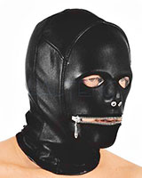 Leather with Stretch Hood with Mouth Zipper for Men