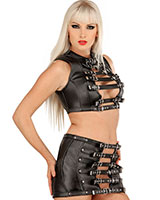 Leather Skirt with Buckles