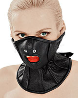 Grain Leather Neck Corset with Half Mask