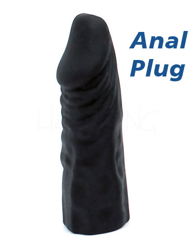 Leather Strap-on Briefs with Silicone External and Anal Dildo