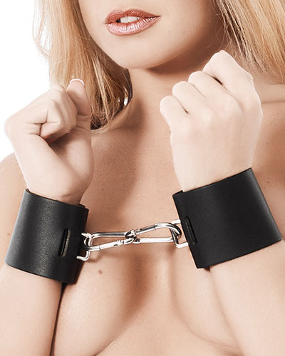 Leather Arm Cuffs with Snap Links - Lockable