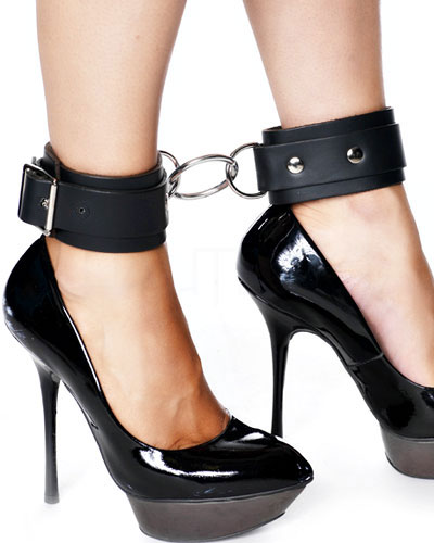 Leather Ankle Cuffs with Middle Ring