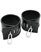 Double Leather Ankle Cuffs with Snap Links - Lockable