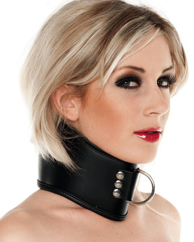 Lockable Leather Bondage Collar with D-Ring