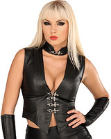 Leather Waistcoat Style Top with Deep Neckline