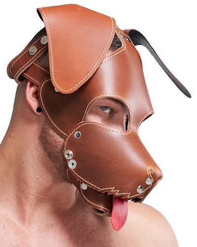 Brown Leather Stitched Floppy Dog Hood