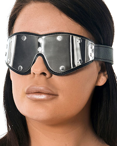 Leather Blindfold with Metall