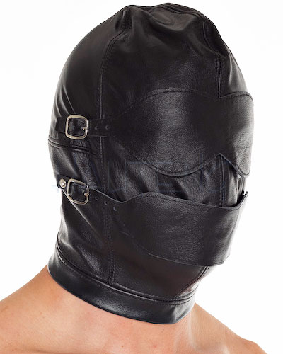 Leather Hood with Detachable Flaps and Gag