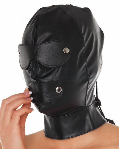Leather Hood with Detachable Eyes and Mouth Flaps