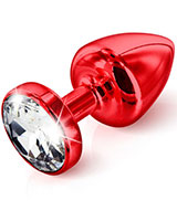 ANNI ROUND Red Jewelled Anal Plug - 3 Sizes