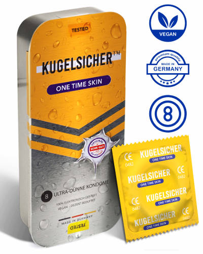 KUGELSICHER 8 Sustainable ultra thin Condoms in a Metal Case