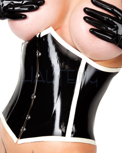 Latex Corset with Contrast Colour Trim