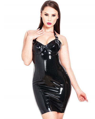 Glued Black Latex Buckle Halter Dress