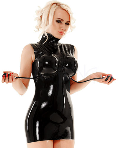 Latex Mini Dress with Inflatable Breasts - up to Size 3XL