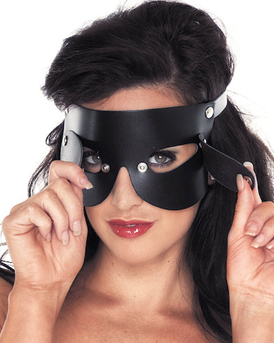 Leather Blindfold with Detachable Blinkers