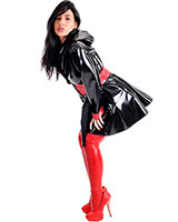 Short 1940's Two-Colour PVC Hooded Designer Raincoat