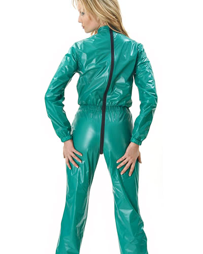 PVC Body Hugging Overall with 2Way Zipper Through Crotch