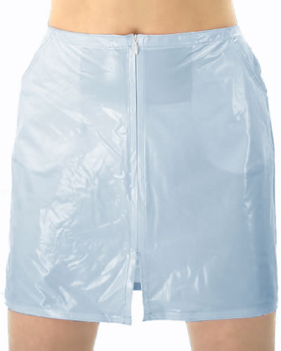 PVC Mini Skirt with Zipper and Pockets