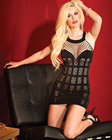 Fishnet Dress with Stripes