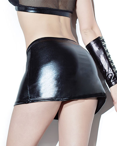 Wet Look Mini Skirt - up to Size 2XL