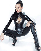Wet Look Catsuit with Lace Up Details