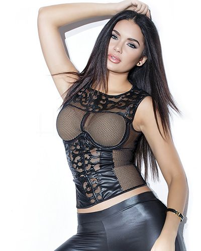 Wet Look and Net Tank Top - up to 3/4XL