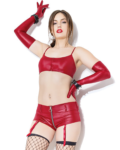 Merlot Wetlook Booty Shorts with Zipper + Detachable Suspenders