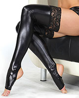 Wet Look Toeless Hold-Up Stockings with Lace Top
