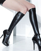 Wet Look Knee High Stockings