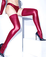 FOREVER MATTE Wet Look Stay-Up Stockings - Black or Merlot
