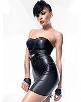 HEIDI Wetlook and Gloss PVC Mini Dress With Back Lacing