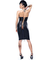 ELLEN Wetlook and Gloss PVC Pencil Dress With Back Lacing