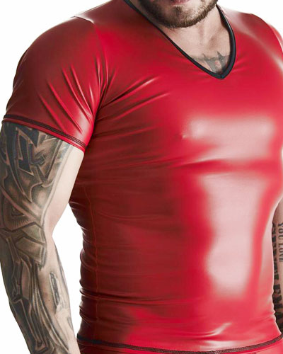 Matt Red Wet Look T-Shirt by Regnes Fetish Planet