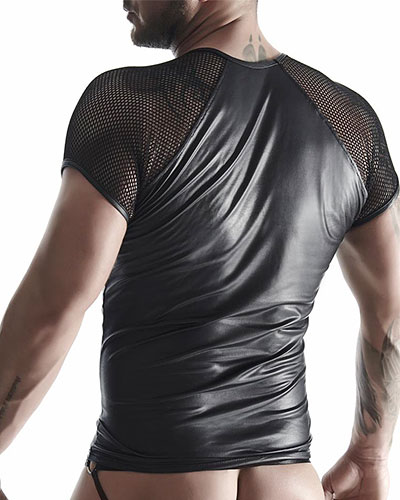 Matt Wet Look and Fishnet T-Shirt by Regnes Fetish Planet