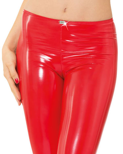 Rote Leggings im Wetlook