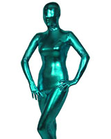Turquoise Shiny Metallic Zenshin Tights Suit